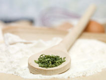 Fresh green condiment placed on wooden spoon Royalty Free Stock Photos