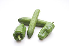 Fresh green Cucumber with Capsicum Stock Photo