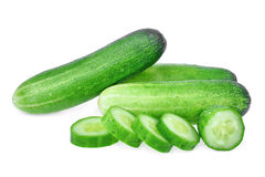Fresh green cucumber and slice isolated on white background. Fresh green cucumber and slice isolated on white Stock Photography