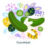 Fresh green cucumber vegetable juice splash organic food juicy vegetables splatter on abstract background. Vector hand drawn illustrations royalty free illustration
