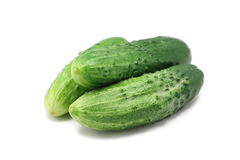 Fresh green cucumber. On white background Royalty Free Stock Images
