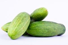 Fresh green cucumber  on white background healthy vegetable food isolated Stock Images