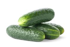 Fresh green cucumbers. On white background Royalty Free Stock Photo