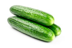Fresh green cucumbers isolated on white. Background Stock Photography