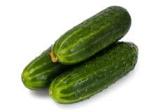 Fresh Green Cucumbers Isolated on White Background. Studio Photo Royalty Free Stock Photos