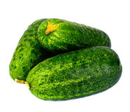 Fresh Green Cucumbers Isolated on White Background. Studio Photo Royalty Free Stock Photo