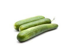 Fresh Green Cucumbers. On white background Stock Images