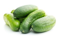 Fresh green cucumbers. Fresh green cucumbers  on white background. Group of cucumbers Royalty Free Stock Photography
