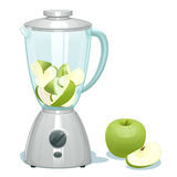 Fresh green cut apples in a glass bowl of the blender. The whole apple and one apple segment lies nearby Stock Photos