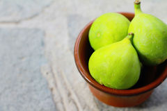 Fresh green figs in a bowl Stock Images