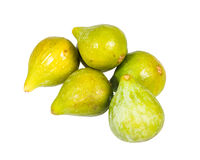 Fresh green figs picked ripe isolated on white Stock Images