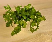 Fresh Green Flat Leaf Parsley in a Bowl. Stock Photos