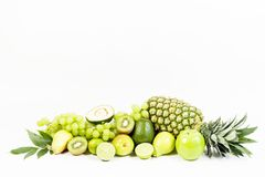Fresh green fruits isolated on white background Royalty Free Stock Photo