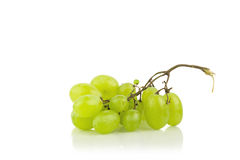 Fresh Green Gape  On White. Background With Reflection Royalty Free Stock Image