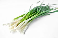 Fresh green garlic on white table stock image