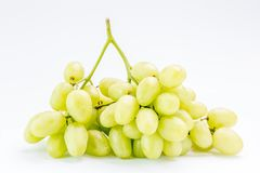 Fresh green grape bunch on white background, healthy food concep Stock Photo