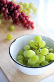 Fresh Green Grapes in Bowl Stock Photography