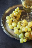 Fresh green grapes and glass of white wine Stock Image