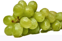 Fresh green grapes isolated on white background with waterdrops. Royalty Free Stock Photo
