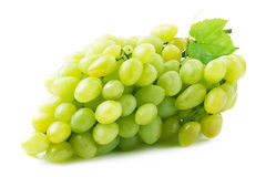 Fresh green grapes with leaves. Stock Photos