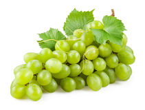Fresh green grapes with leaves. Isolated on white Royalty Free Stock Image