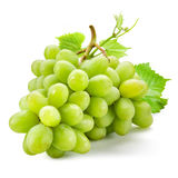 Fresh green grapes with leaves. Isolated on white Stock Photography