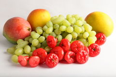 Fresh green grapes , mangoes and berrys. Stock Photography