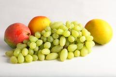Fresh green grapes and mangoes Stock Photos