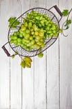 Fresh green grapes in vintage basket Royalty Free Stock Photos