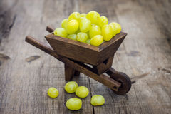 Fresh Green Grapes in a wheelbarrow Royalty Free Stock Image