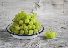 Fresh green grapes in a white enamel bowl Royalty Free Stock Image