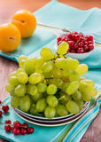 Fresh green grapes, yellow plums and red currants Stock Photos