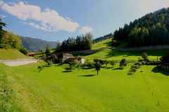 Fresh green grass in Alpine meadow surrounded by mountains. Stock Image