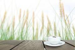 Fresh green grass in beautiful meadow and coffee cup on veranda Stock Image