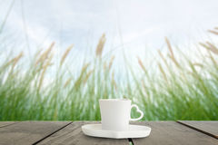 Fresh green grass in beautiful meadow and coffee cup on veranda Royalty Free Stock Photo