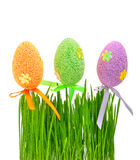 Fresh green grass and colored easter eggs Stock Images