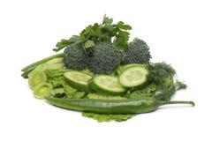 Fresh green grass parsley dill onion herbs mix Stock Photos