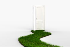 Fresh green grass path leading to open white door. 3d render Stock Image