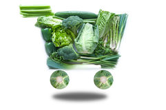 Fresh green grocery cart Royalty Free Stock Photo