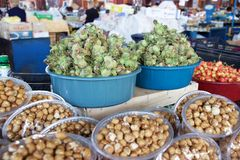 Fresh green hazelnuts for sale at market in Yerevan, Armenia Royalty Free Stock Images
