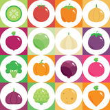 Fresh green and healthy food. Vegetables round flat icons. Vector illustration and design element Stock Image