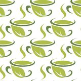 Fresh green herbal tea seamless pattern Stock Photos
