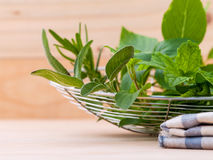 Fresh green herbs harvest from garden in the basket Royalty Free Stock Images