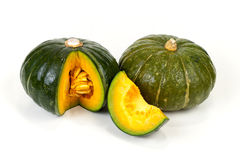 Fresh Green Japanese Pumpkin sliced on isolated Royalty Free Stock Image