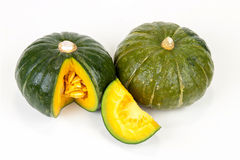 Fresh Green Japanese Pumpkin sliced on isolated Royalty Free Stock Images