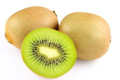 Fresh green kiwi fruits isolated on a white background Royalty Free Stock Image