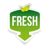 Fresh green label with leaves. Vector Stock Photography