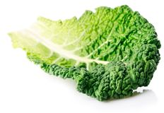 Fresh green leaf cabbage isolated on white Royalty Free Stock Images