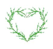 Fresh Green Leafy Leaves in A Heart Shape Royalty Free Stock Image