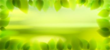 Fresh green leaves and blurred summer nature background beyond. Fresh green leaves and blurred summer nature background beyond, realistic bright vector stock illustration
